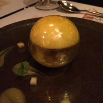 Liam's Le Victoria - Queen Victoria pineapple sphere, caramelised macadamias and tonka ice-cream